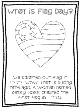 Flag Day Reading, Writing, and Coloring Activities by