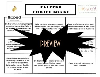 Flipped Choice Board Novel Study Activities Menu Book