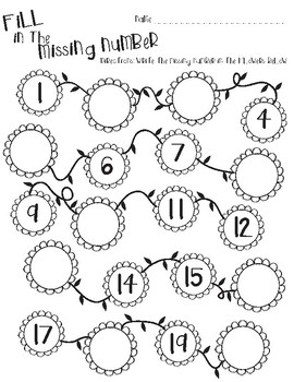 Flower/Spring themed math-Fill in the Missing Numbers 1-20