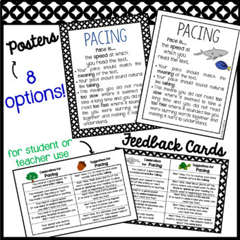 Fluency: PACING Rubrics, Posters, Feedback Cards & Partner