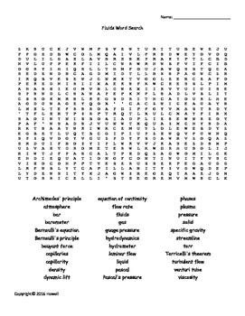 Fluids Vocabulary Word Search for Physics or Physical