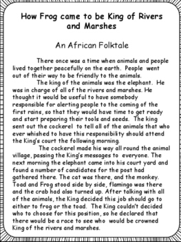 Reading Folktales With Comprehension Printables By