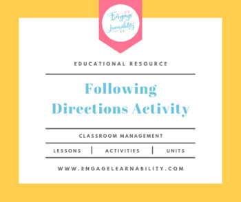 Following Directions Activity / First Week of School