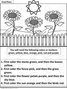 Following Directions Coloring Worksheets by Find My Words