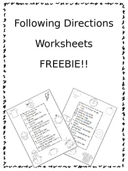 Following Directions Worksheets FREEBIE! by Fun in Speech