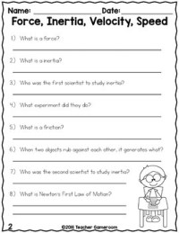 Force, Inertia, Velocity, and Speed - Science Worksheet by ...