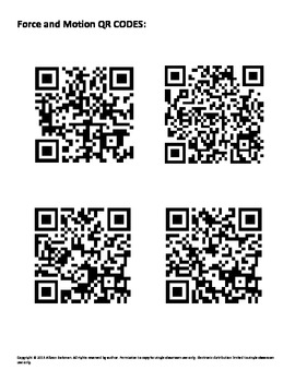 Force, Motion, and Work QR Scavenger Hunt by Texas Science