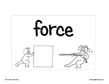 Force and Motion Word Wall Terms/Pictures by Science