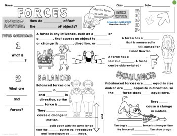 Forces Cornell Doodle Notes and Powerpoint by Sunrise