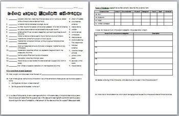 Forensic Science Crime Scene Review Worksheet And Answer Key  Tpt