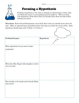 Forming A Hypothesis Worksheet By Resources For Success By
