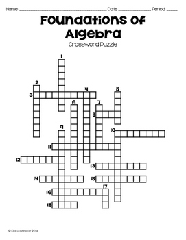 Foundations of Algebra (Crossword Puzzle)