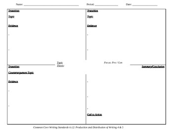 Four Square Graphic Organizer for Persuasive Essays by
