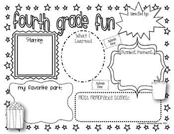 {Freebie!} Fourth Grade Fun (Movie Themed Memory Page) by