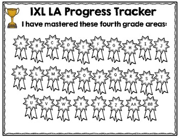 Fourth Grade IXL Language Arts Tracker by Lockwood's