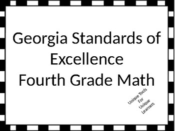Fourth Grade Math Standards Posters for GSE with Black and