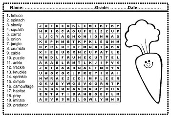Fourth Grade Spelling Words, Year Long, Word Search