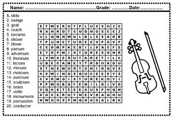 4th Grade Spelling Words, Year Long, Word Search
