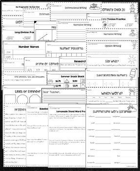 Fourth Grade into Fifth Grade Summer Packet by Kendra's Kindergarten