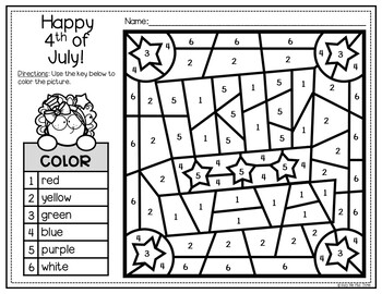 Fourth of July Activities for Writing & Math Color by