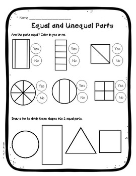 Fraction Anchor Chart Equal vs. Unequal Parts FREE! by The