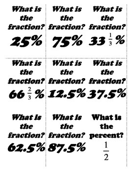 Fraction, Decimal and Percent Flashcards by A Math Mindset