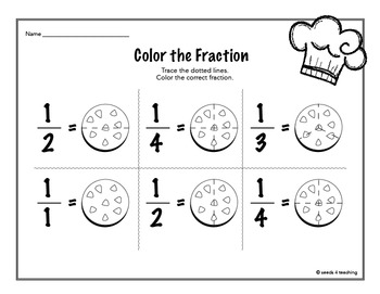 Fraction worksheets for Kindergarten and First Grade by