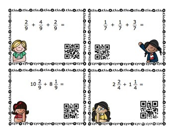 Fraction QR Code Task Cards [4th & 5th grade] by Teaching
