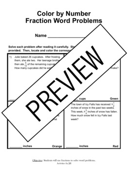 Fraction Word Problems Color by Number by Activities by