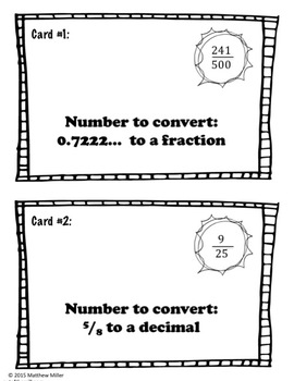 8.NS.1 Fraction and Decimal Conversions: Scavenger Hunt by