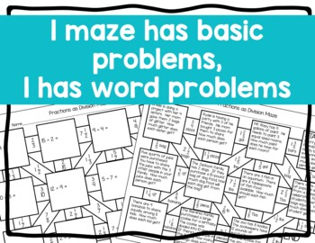 Fractions as Division Maze Activity with Word Problems by