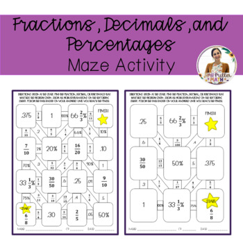 Fractions, Decimals, and Percentages Maze Activity by
