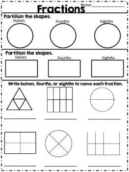 Fractions Halves Fourths & Eighths by The Aspiring Teacher