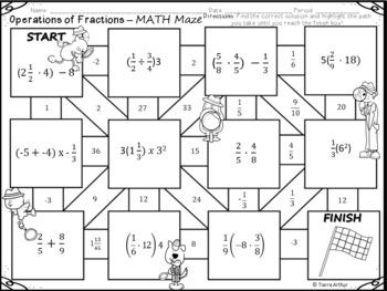 Fractions Math Maze FREEBIE by Tiarra's Teaching