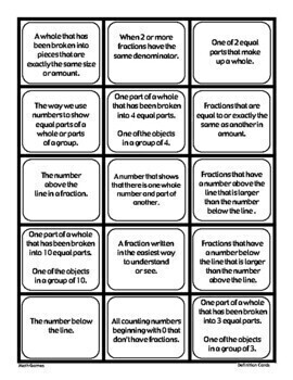 Fractions-Math Vocabulary Trading Cards-Math Games and