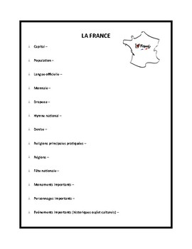 France, worksheet for beginner learners of French by