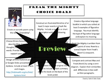 Freak the Mighty Choice Board Novel Study Activities Menu