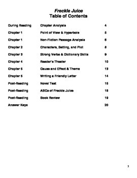 Freckle Juice Novel Unit ~ Activities, Handouts, Tests! by