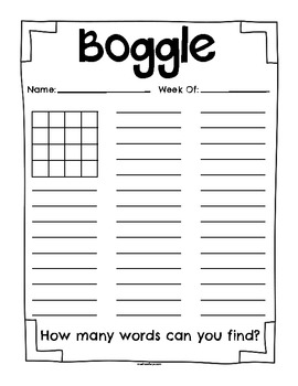Free Boggle Board And Worksheet By Madison  Teachers Pay Teachers