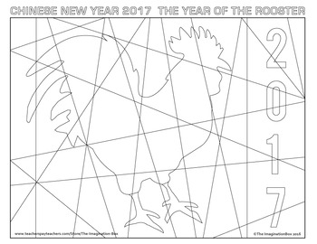 Chinese New Year Rooster Free Coloring Page by The