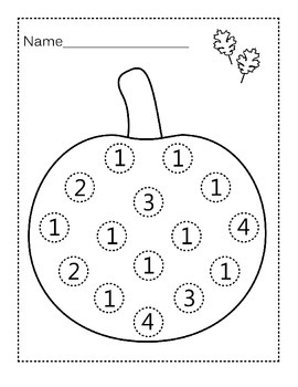 Free Pumpkin Do-a-Dot Worksheets- Numbers 1-10 by Self