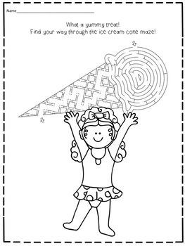 Free FREEBIE Summer Activities Morning Work Worksheets No