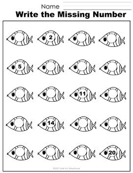 Free Ocean Animals Numbers 1-20 Worksheets by Little Fun