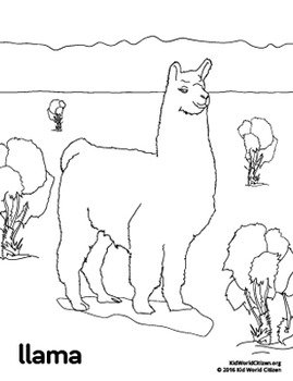 Free South America / Peru Llama Coloring Page by Kid World