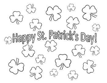 Free St. Patrick's Day Coloring Sheet Shamrock Coloring