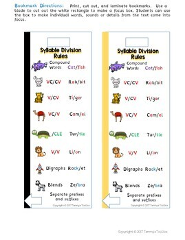 Syllable Rules : syllable, rules, Syllable, Division, Rules, Bookmark, Freebie, Tammys, Toolbox