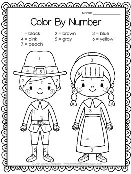 Thanksgiving Activities Free Color by Code by Mrs Thompson