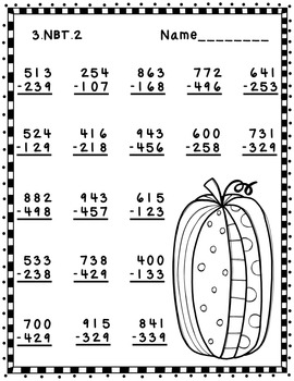 Free Three Digit Subtraction With Regrouping Fall Theme 3