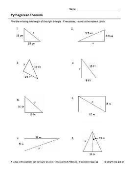 Pythagorean Theorem Answer Key : pythagorean, theorem, answer, Pythagorean, Theorem, Worksheet, Video, Answers, LPCMath