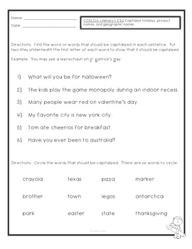 ~Freebie~ Common Core- ELA- L.2.2.a.- Capitalization Quiz